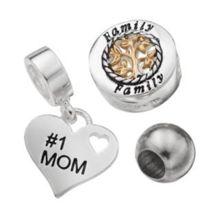 Individuality Beads Sterling Silver Two Tone Family Tree Bead and Mom Heart Charm Set