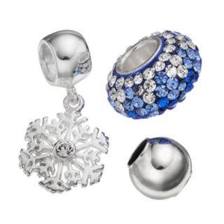 Individuality Beads Crystal Sterling Silver Bead and Snowflake Charm Set