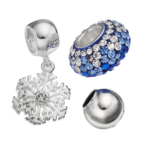 Individuality Beads Crystal Sterling Silver Bead & Snowflake Charm Set