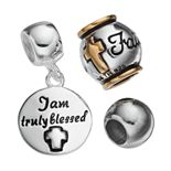 "Individuality Beads Sterling Silver Two Tone ""Faith"" Bead & Disc Charm Set"