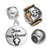 """Individuality Beads Sterling Silver Two Tone """"Faith"""" Bead & Disc Charm Set"""