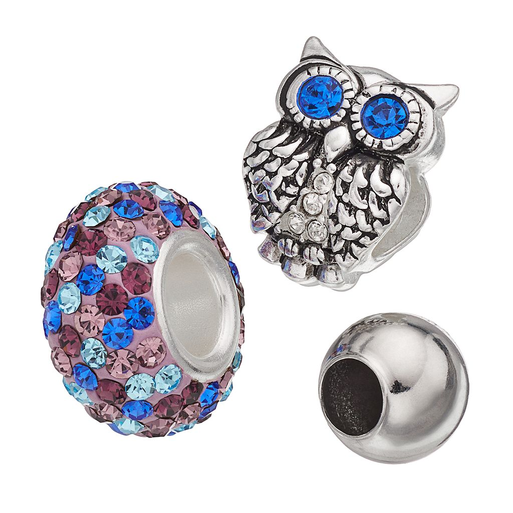 Individuality Beads Crystal Sterling Silver Owl Bead Set