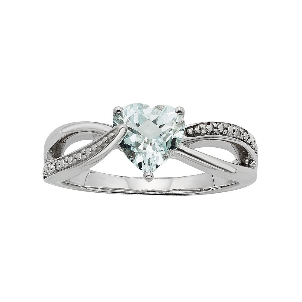 Lab-Created Aquamarine & Diamond Accent Sterling Silver Heart Bypass Ring