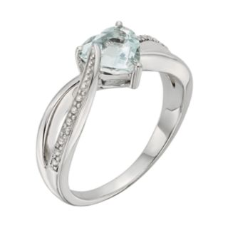 Lab-Created Aquamarine and Diamond Accent Sterling Silver Heart Bypass Ring