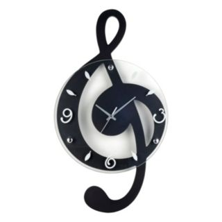Music G Clef Wood Wall Clock