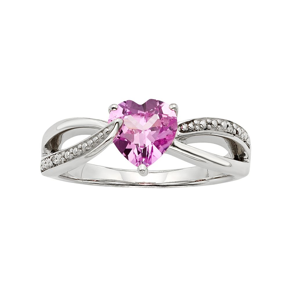 f7acfaf89 Lab-Created Pink Sapphire & Diamond Accent Sterling Silver Heart ...