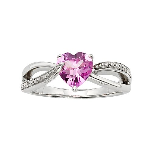 Lab-Created Pink Sapphire & Diamond Accent Sterling Silver Heart Bypass Ring