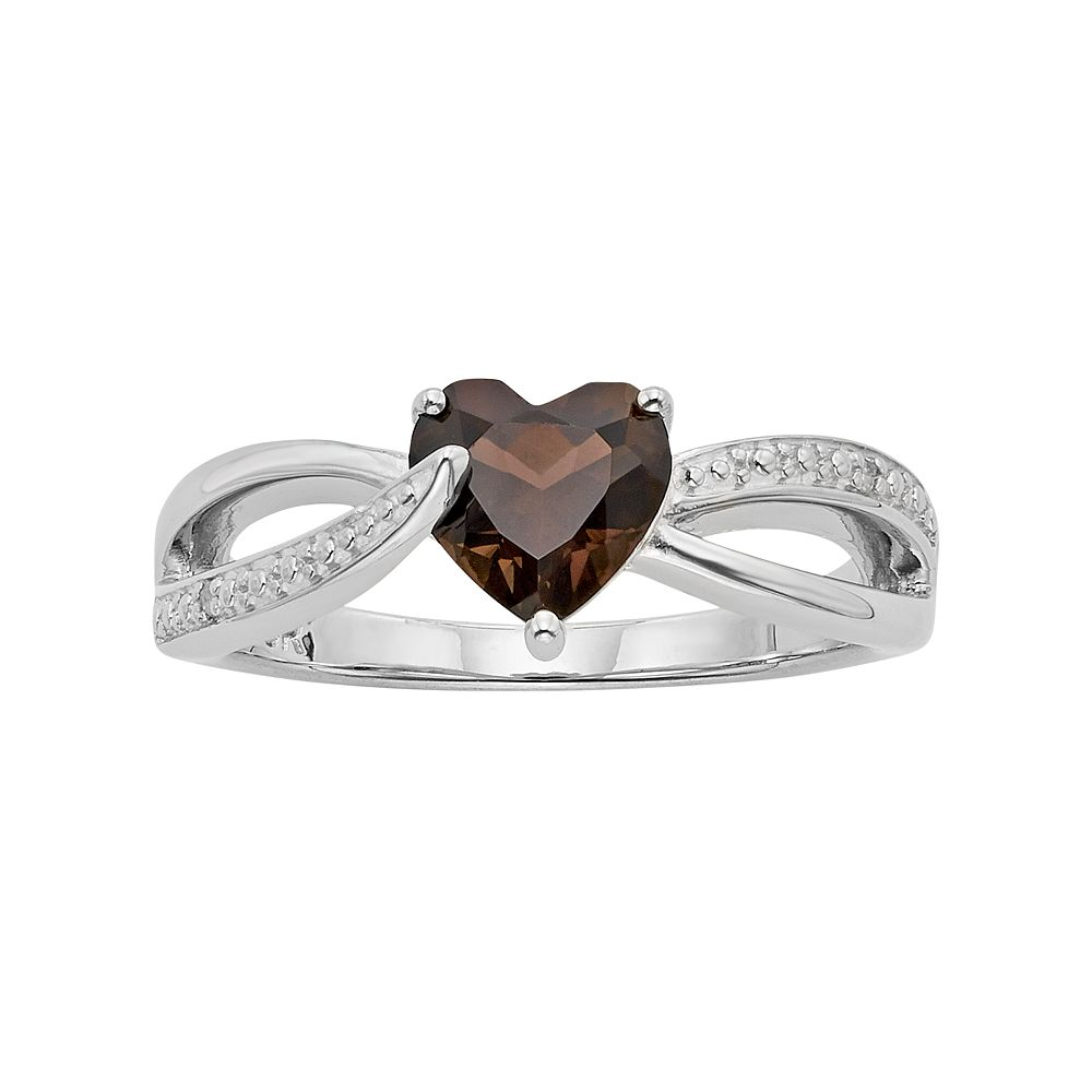 Smoky Topaz & Diamond Accent Sterling Silver Heart Bypass Ring