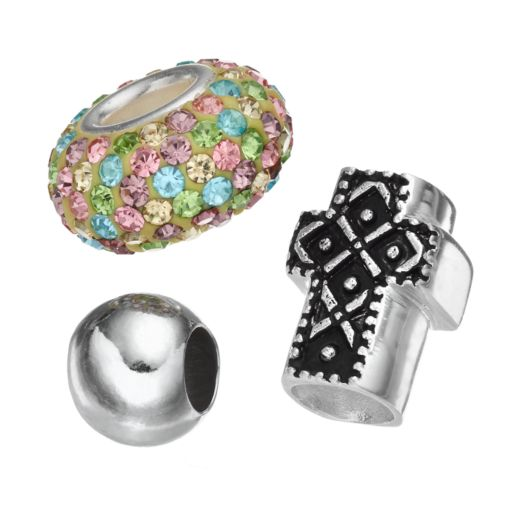 Individuality Beads Crystal Sterling Silver Sideways Cross Bead Set