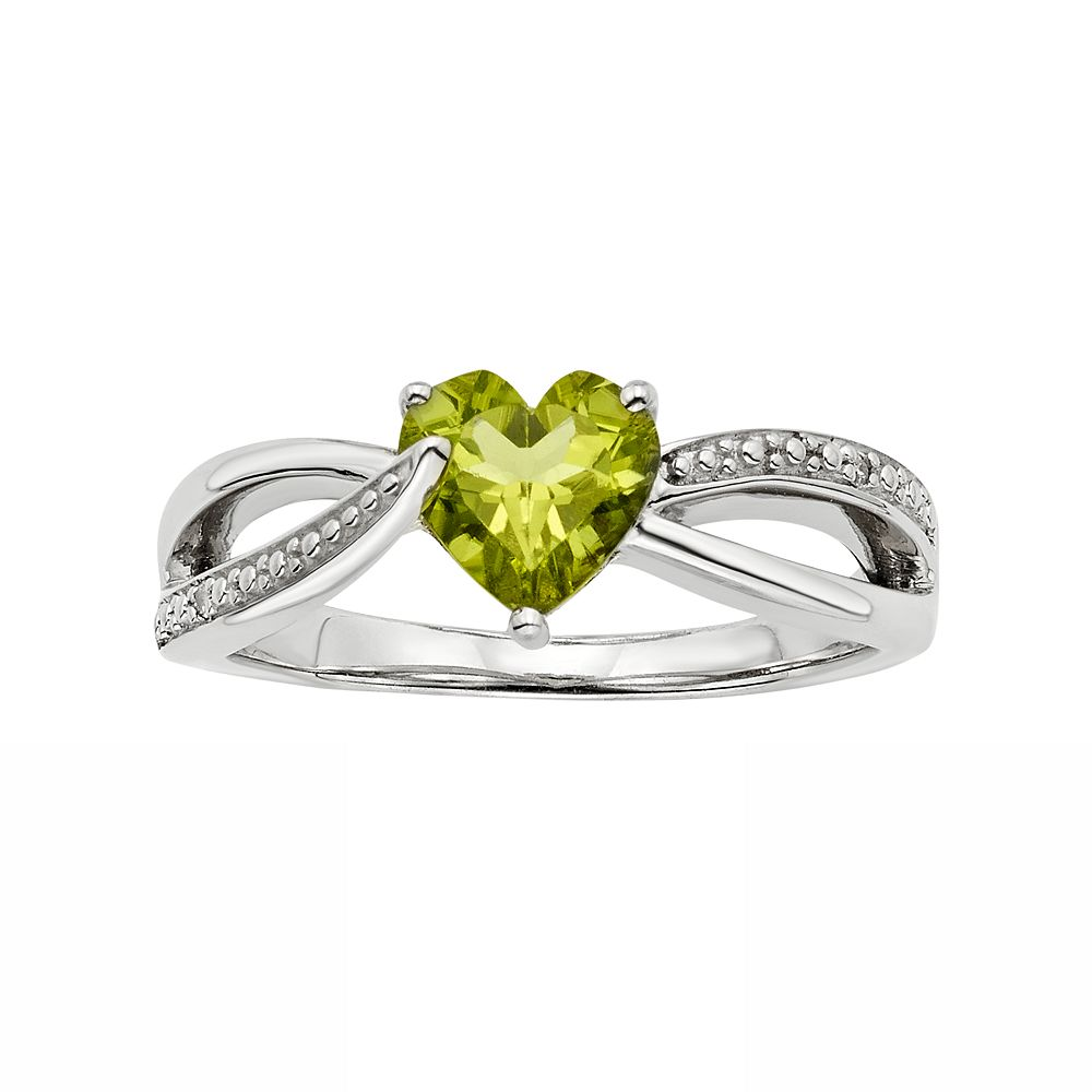 Peridot & Diamond Accent Sterling Silver Heart Bypass Ring