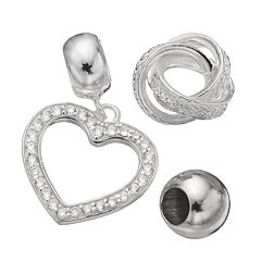Individuality Beads Cubic Zirconia Sterling Silver Love Knot Bead & Heart Charm Set
