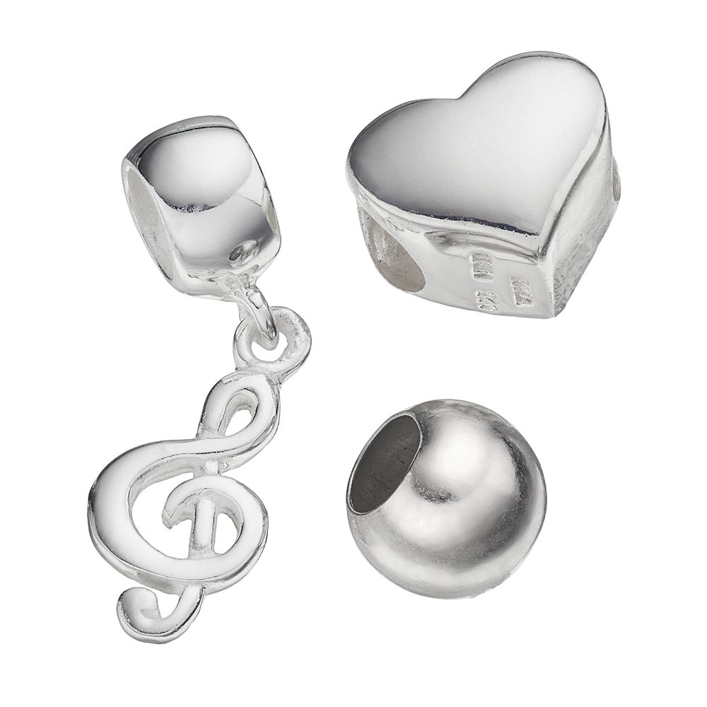 Individuality Beads Sterling Silver Heart Bead & Trebel Clef Charm Set