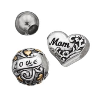 """Individuality Beads Sterling Silver Two Tone """"Mom"""" & """"Love"""" Bead Set"""