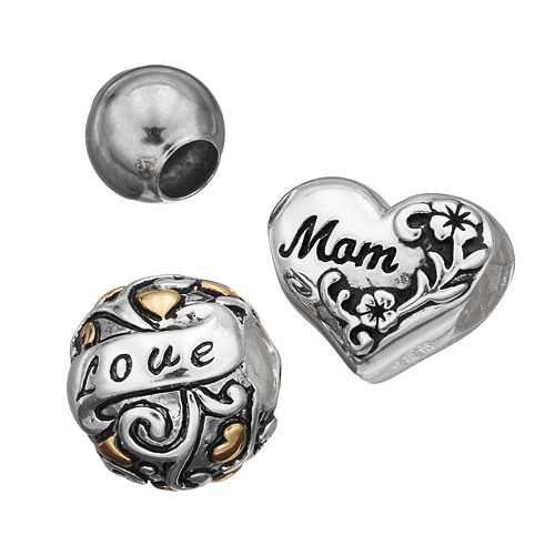 "Individuality Beads Sterling Silver Two Tone ""Mom"" & ""Love"" Bead Set"