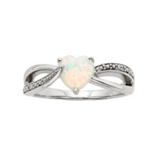 Lab-Created Opal and Diamond Accent Sterling Silver Heart Bypass Ring