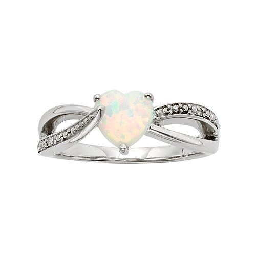 Lab-Created Opal & Diamond Accent Sterling Silver Heart Bypass Ring