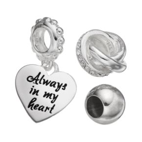 Individuality Beads Crystal Sterling Silver Love Knot Bead and Heart Charm Set