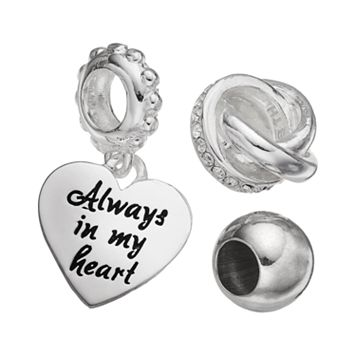 Individuality Beads Crystal Sterling Silver Love Knot Bead & Heart Charm Set