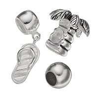 Individuality Beads Sterling Silver Palm Tree Bead & Flip-Flop Charm Set