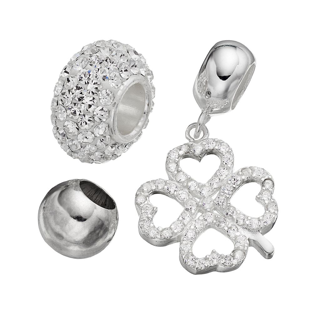 Individuality Beads Cubic Zirconia & Crystal Sterling Silver Bead & Four-Leaf Clover Charm Set