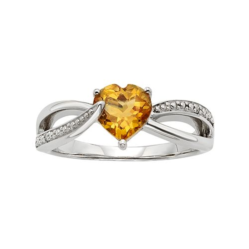 Citrine & Diamond Accent Sterling Silver Heart Bypass Ring