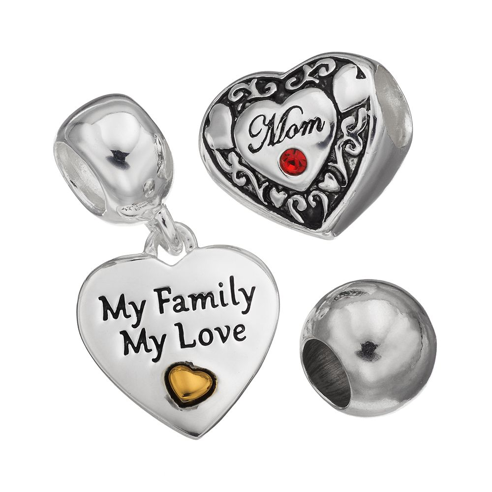 "Individuality Beads Crystal Sterling Silver ""Mom"" Heart Bead & Charm Set"