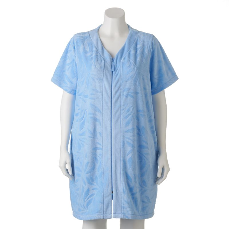 Croft & Barrow Embossed French Terry Zip Robe - Women's Plus Size