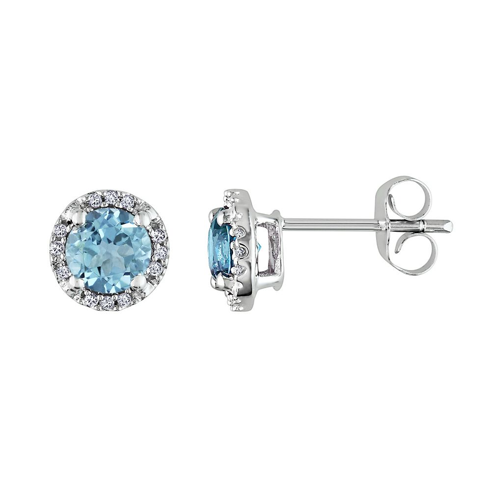 Stella Grace Sky Blue Topaz  and Diamond Accent 10k White Gold Halo Stud Earrings