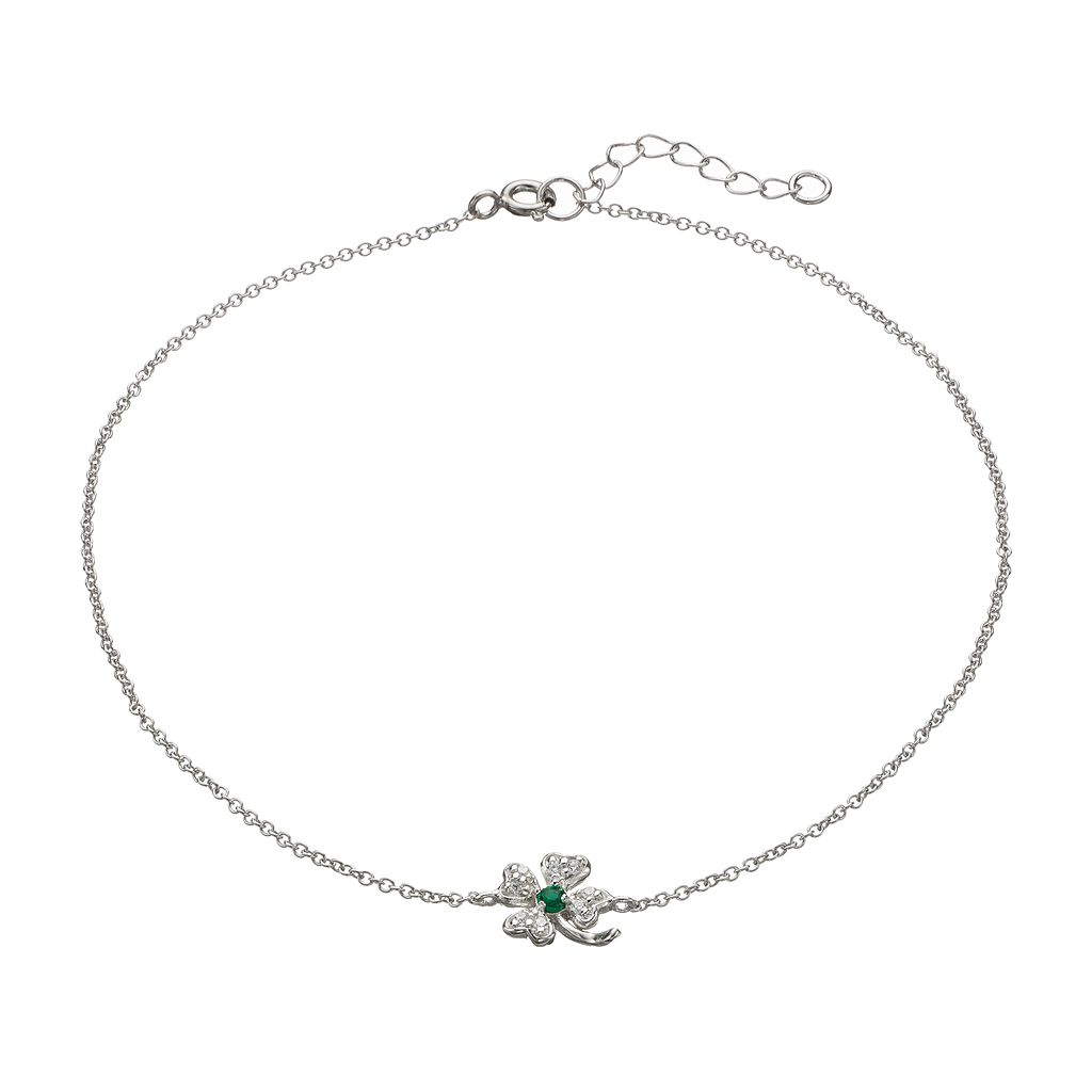 Sophie Miller Cubic Zirconia & Simulated Emerald Sterling Silver Four Leaf Clover Anklet