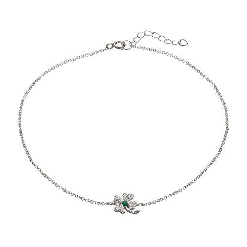 Sophie Miller Cubic Zirconia & Simulated Emerald Sterling Silver Four Leaf Clover Anklet