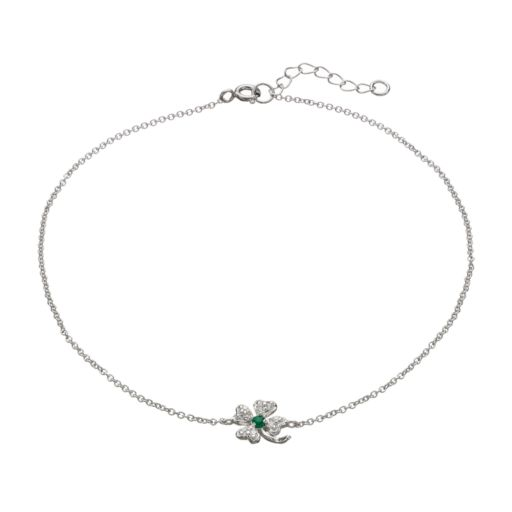Sophie Miller Cubic Zirconia and Simulated Emerald Sterling Silver Four Leaf Clover Anklet