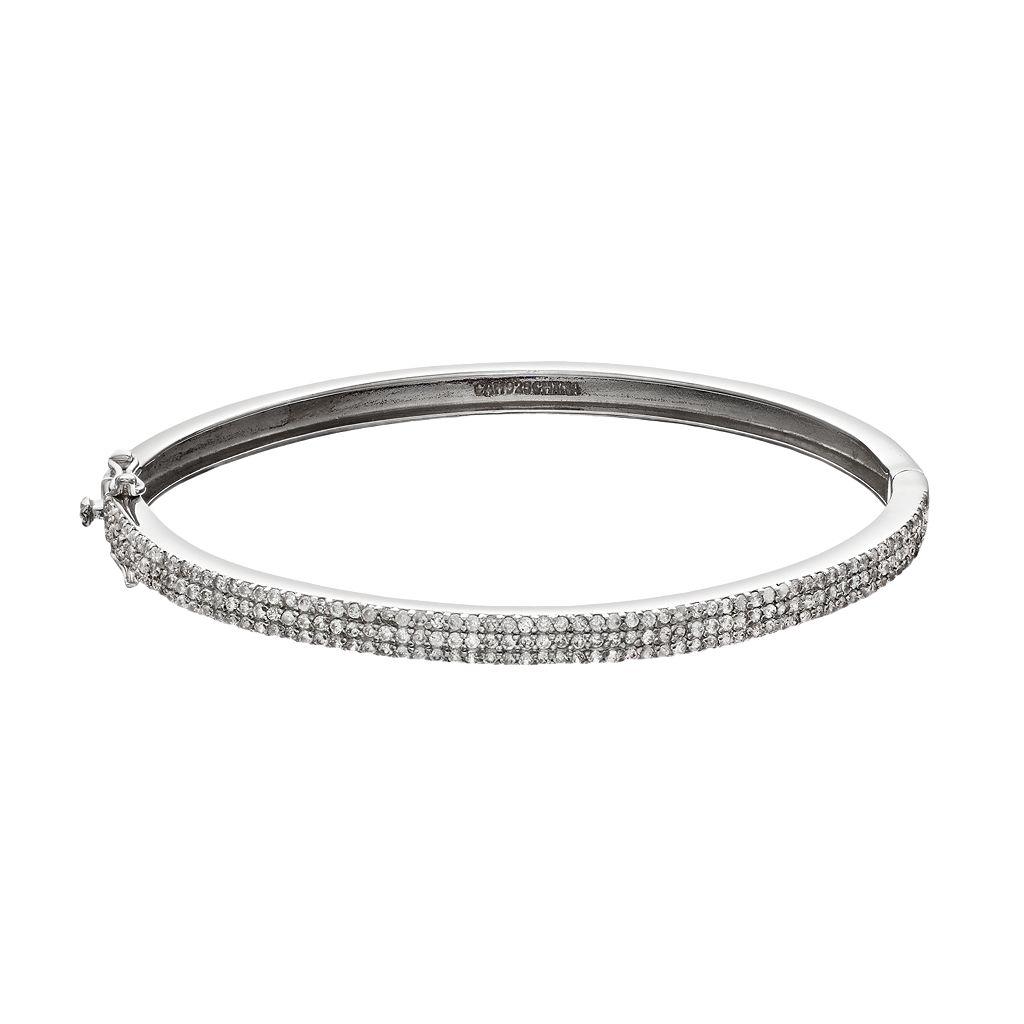 Sophie Miller Cubic Zirconia Sterling Silver Bangle Bracelet