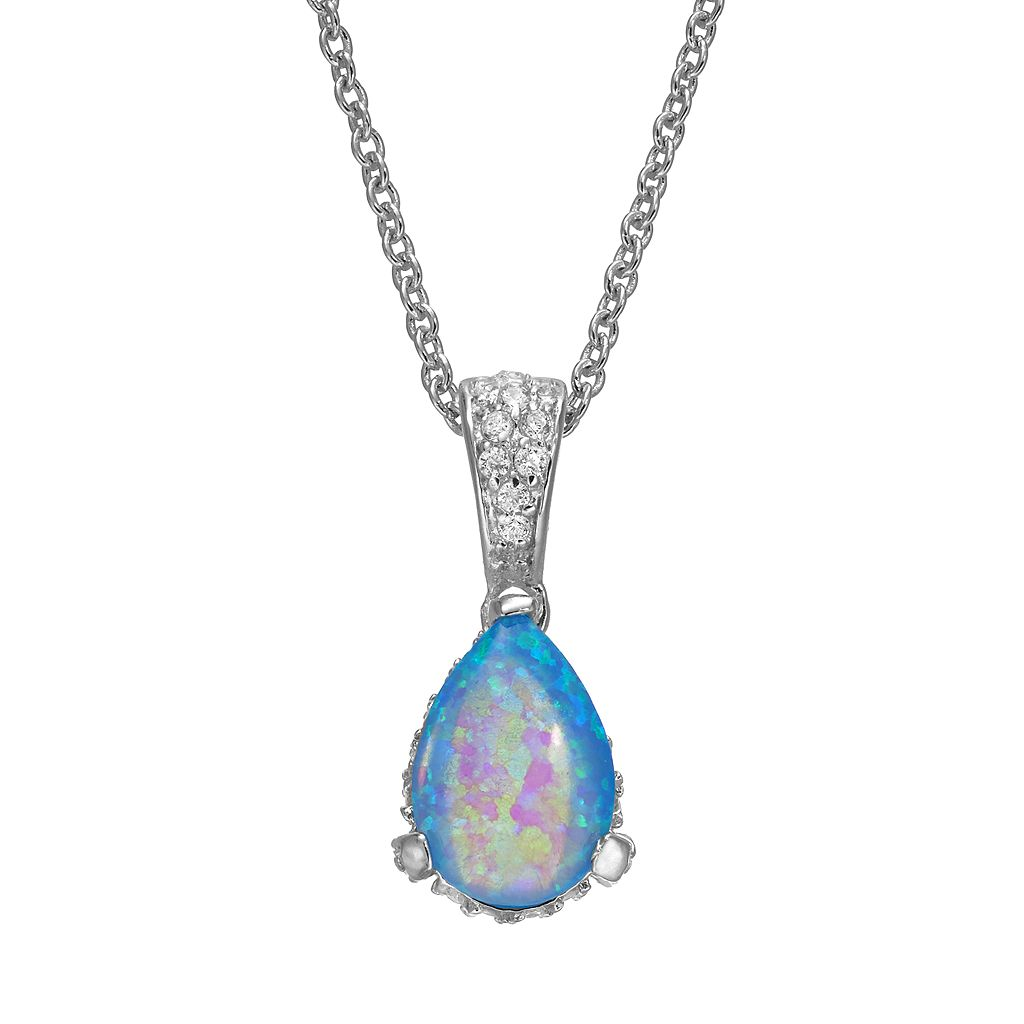 Sophie Miller Lab-Created Blue Opal & Cubic Zirconia Teardrop Pendant Necklace