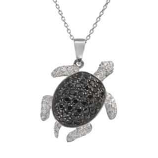 Sophie Miller Black and White Cubic Zirconia Sterling Silver Turtle Pendant Necklace