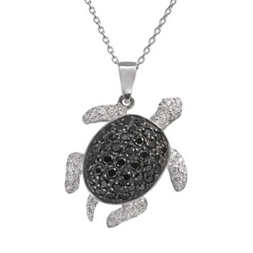 Sophie Miller Black & White Cubic Zirconia Sterling Silver Turtle Pendant Necklace