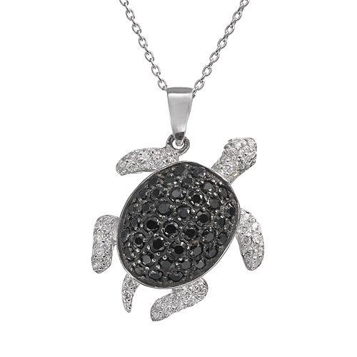 Sophie Miller Black & White Cubic Zirconia Sterling Silver Turtle Pendant Necklace