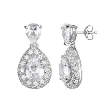 Sophie Miller Cubic Zirconia Sterling Silver Teardrop Earrings
