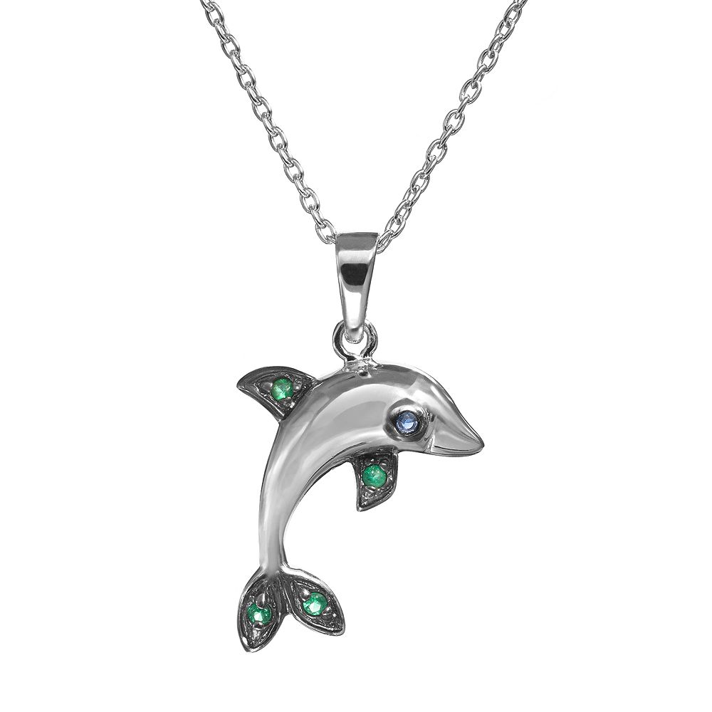 Sophie Miller Simulated Emerald & Simulated Sapphire Sterling Silver Dolphin Pendant Necklace