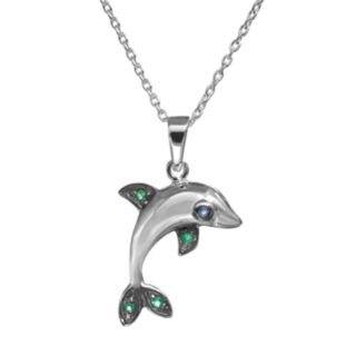 Sophie Miller Simulated Emerald and Simulated Sapphire Sterling Silver Dolphin Pendant Necklace