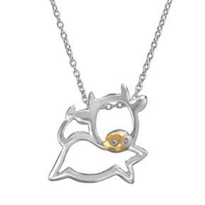 Sophie Miller Cubic Zirconia 14k Gold Over Silver and Sterling Silver Cow Pendant Necklace