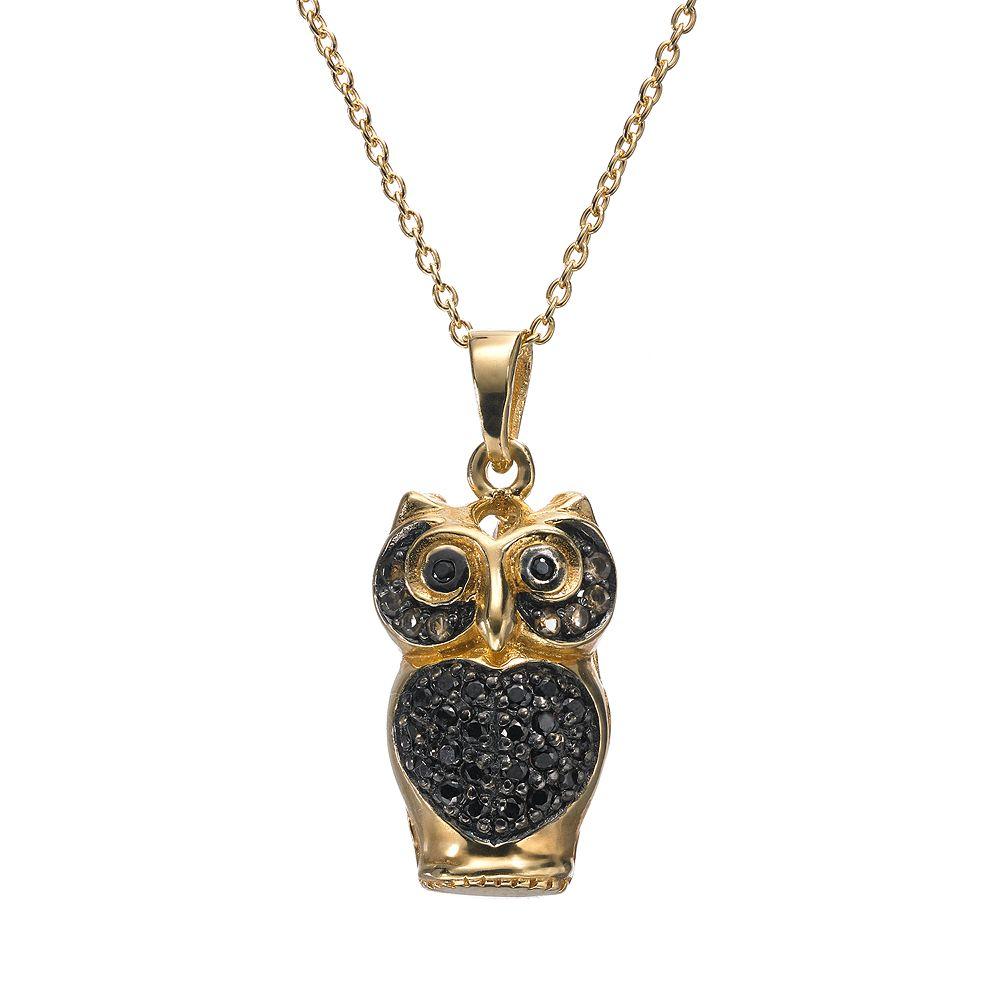Sophie Miller Black Cubic Zirconia 14k Gold Over Silver Owl Pendant Necklace