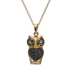 Sophie Miller Black Cubic Zirconia 14k Gold Over Silver Owl Pendant Necklace