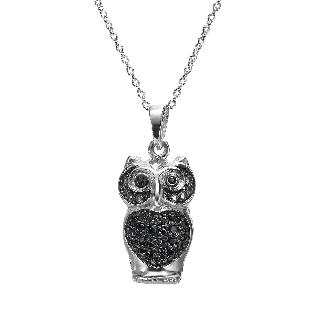 Sophie Miller Black Cubic Zirconia Sterling Silver Owl Pendant Necklace
