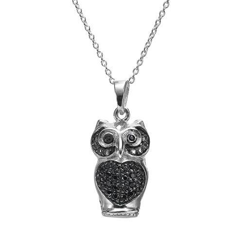 Sophie Miller Black Cubic Zirconia Sterling Silver Owl Pendant Necklace