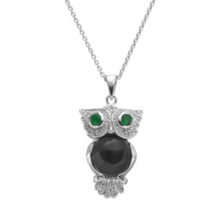 Sophie Miller Onyx, Simulated Emerald and Cubic Zirconia Sterling Silver Owl Pendant Necklace