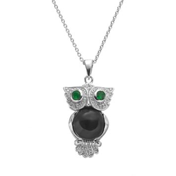 Sophie Miller Onyx, Simulated Emerald & Cubic Zirconia Sterling Silver Owl Pendant Necklace