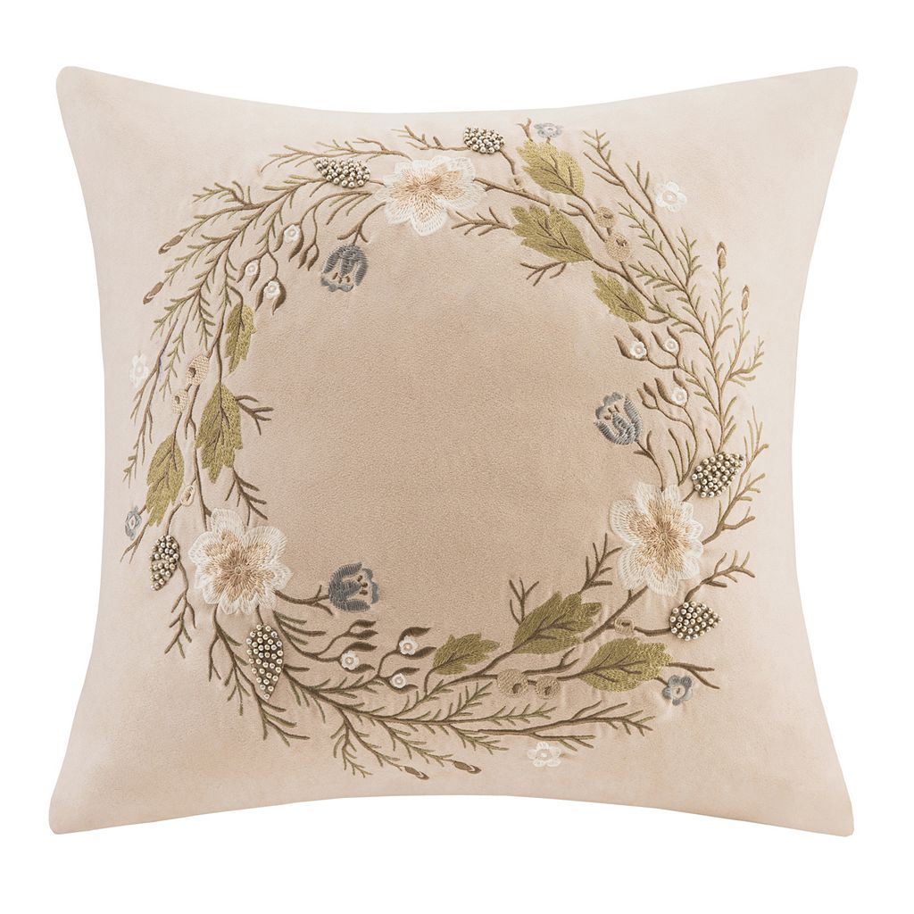 Madison Park 20'' x 20'' Wreath Embroidered Suede Throw Pillow