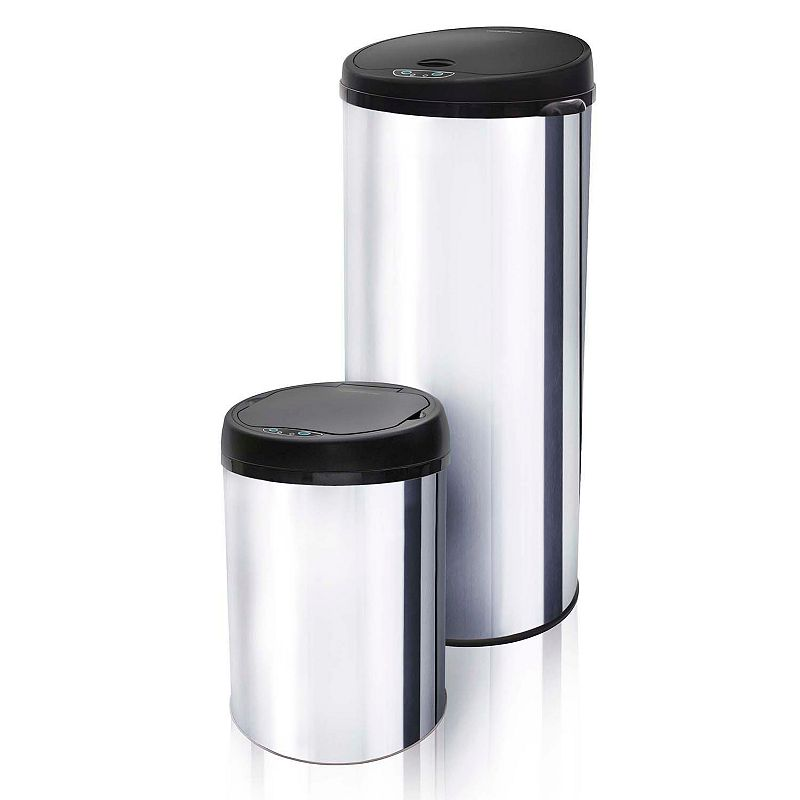 Modernhome Stainless Steel Motion-Activated Trash Can Set