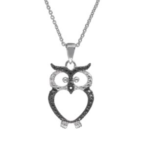 Sophie Miller Sterling Silver Two Tone Owl Pendant Necklace