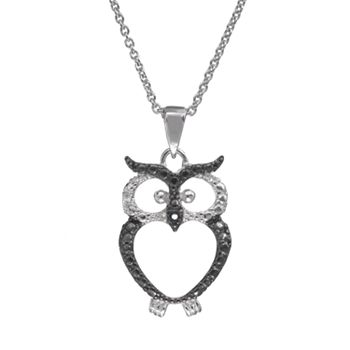 Sophie miller sterling silver two tone owl pendant necklace aloadofball Gallery